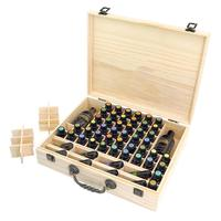 Pine 70 Compartments Essential Oil Storage Box Wood Portable Essential Oil Bottle Display Case Travel Perfume Carrying Container