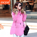 Asymmetric Length Women Long coat Winter 2016 New Fashion Female Jackets Lady Clothing Parkas coats Fur Hooded collor M41