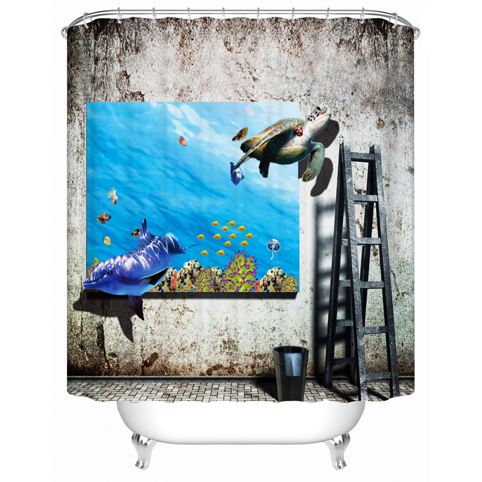 Nanaz Cute Animal Fabric Shower Curtain Printing Design