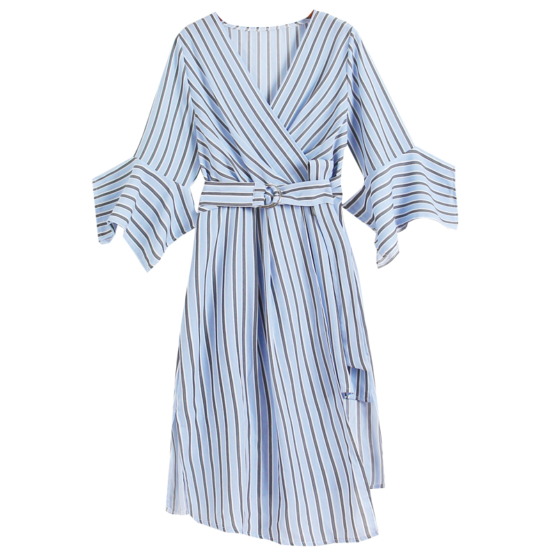 Summer Dress 2018 Korean Ladies Pink Elegant Striped Dress Blue Irregular Dresses V Neck Vestido Fashion Hot New ZL054