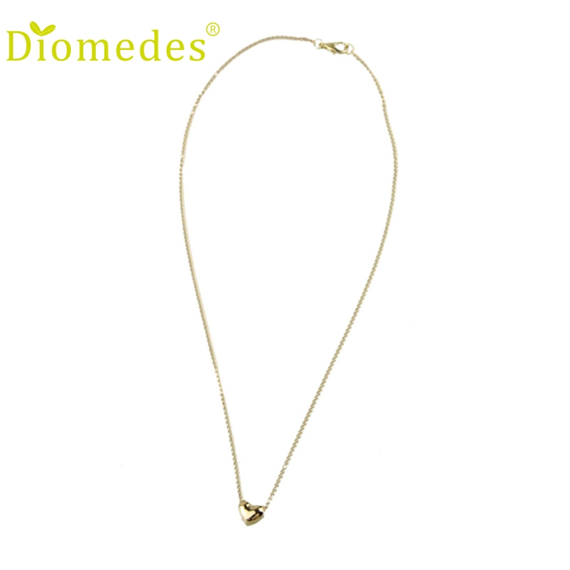 Diomedes Women Sexy Chain Short Women Simple Smooth Small Heart Rose Gold Pated Pendant Necklace Austrian Crystal Wholesale