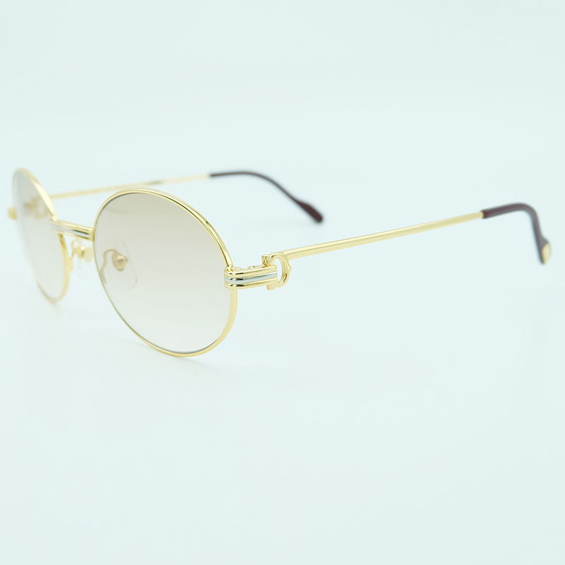 Vintage Metal Sunglasses Mens Designer Brand Men Retro Oval Carter Sunglass Luxury High Quality Gold Sun Glasses Round Eyewear