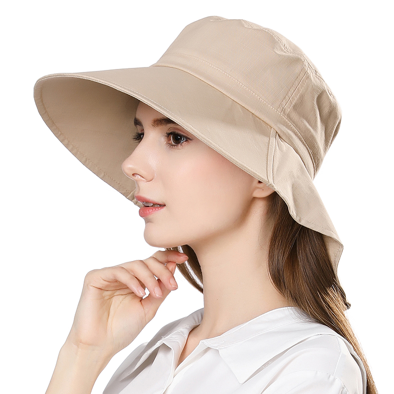 5c2aefe9597 SIGGI Summer Women Sun Hat Cotton Chin Cord Wide Brim Uv Cap Breathable  Collapsible Sweatband Spring Beach For Female 1005-in Sun Hats from Women s  Clothing ...