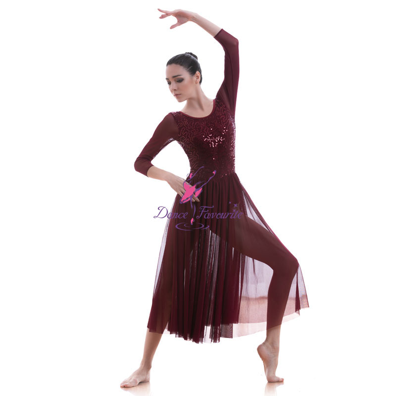 Picture of 18704 Dance Favourite Burgundy Sequin Lace Bodice Dance Costumes Ballet Dress Lyrical Long Dress Contemporary Dress