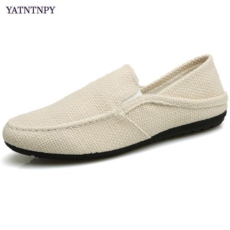 YATNTNPY Breathable hemp shoes men summer canvas casual shoes slip-on flat loafers comfortable driving Loafers Dual use slippers
