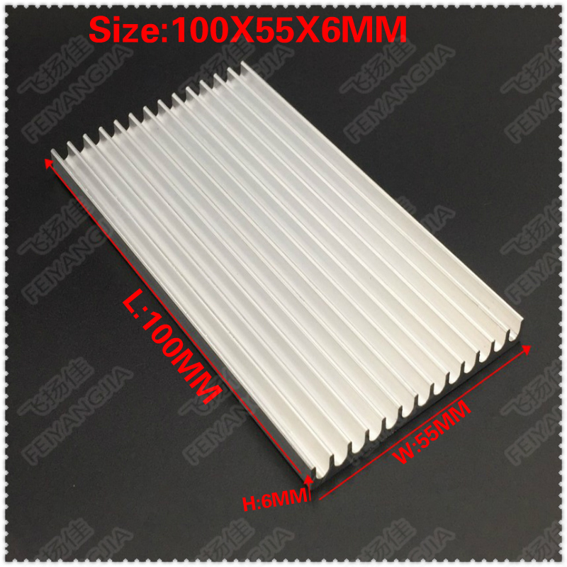 Free shipping Wholesale 20PCS 100x55x6mm Aluminum Radiator Heat Sink Heatsink for Computer LED Amplifier IC
