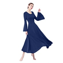 2019 New Women Adults Plain Praise Dress Bell Long Sleeves Pleated Swing Long Dress Dancer Costume Ladies Ballroom Dancing Dress yellow pleated design plain cold shoulder long sleeves blouses