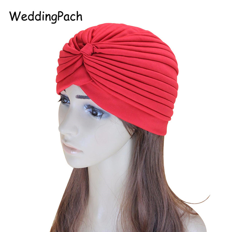 21 Solid Color Bohemia font b Women b font Turban Hat 2017 New Fashion Fold Simple