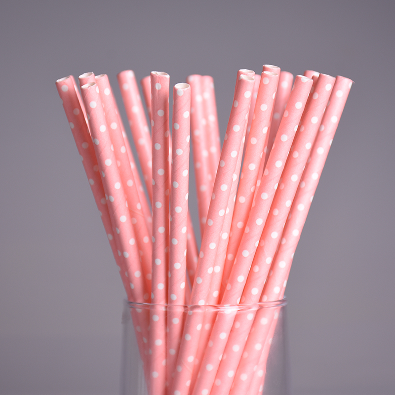 25pcs/lot Pink Dot Chevron Paper Straws for Kids Birthday Wedding Decoration Party Straws Creative Paper Drinking Straws Prom