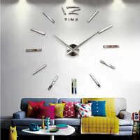 2016 new hot vente horloge murale montre horloges 3d diy acrylique miroir autocollants Salon Quartz Aiguille Europe horloge livraison gratuite