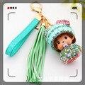 Fluffy Crystal Tassel Monchichi doll keychain sparkly bag charm cute Key chains/Fox Fur Pom Pom handbag Charm Crystal monchhichi