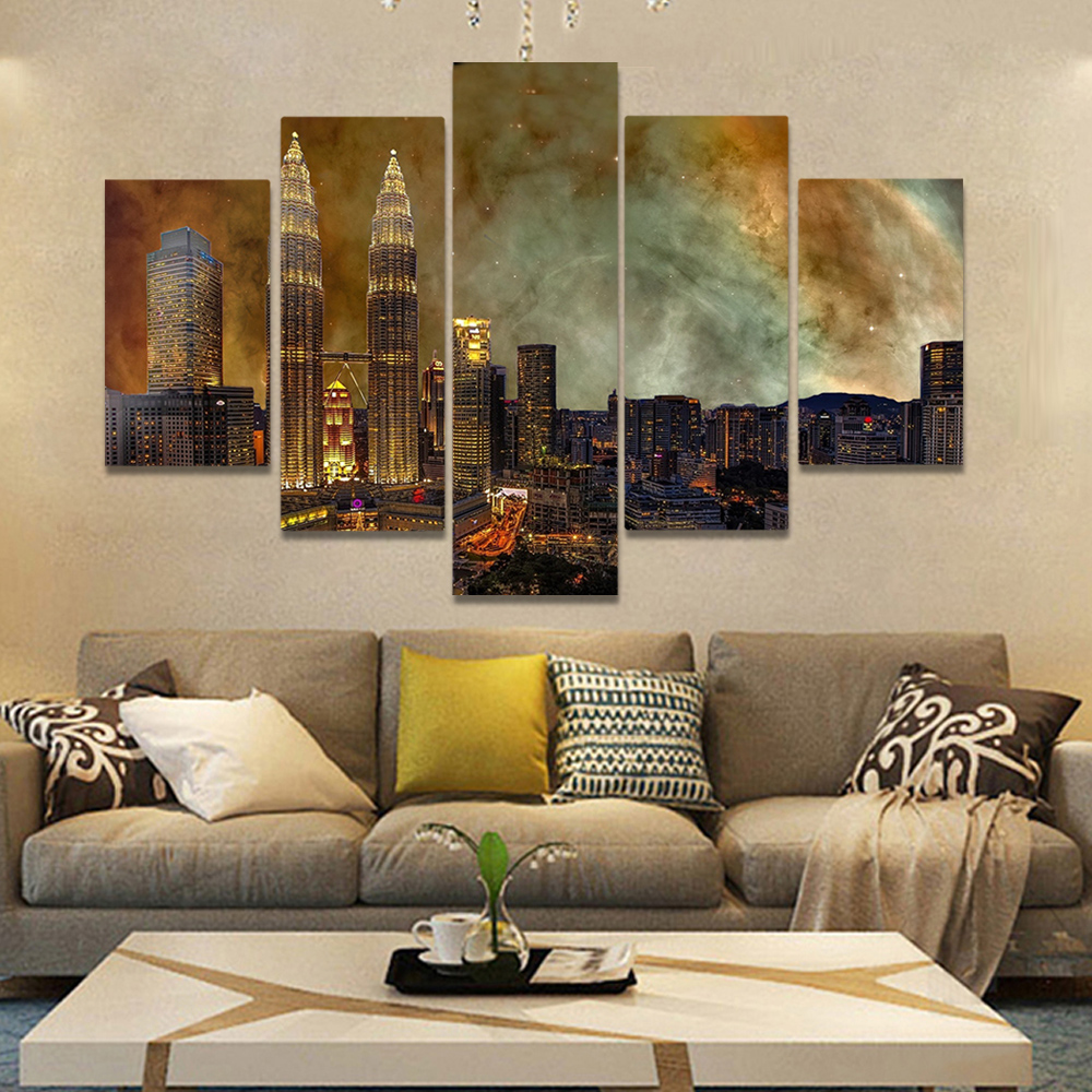 Unframed Canvas Painting City Night Scene Light Building Nebula Picture Prints Wall Picture For Living Room Wall Art Decoration