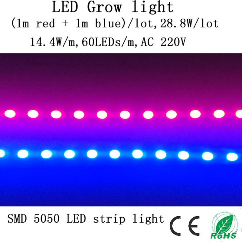 (1 m rød + 1 m blå) LED Grow Lights Strip 28,8 W / Lot 220V gir sol for frøplanter, grønnsaker i dyrketelt og akvarium