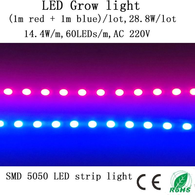 (1 m röd + 1 m blå) LED-odlingsljusremsa 28,8 W / parti 220V ger sol för plantor, grönsaker i odlingstält och akvarium