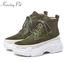Krazing Pot horsehair thick bottom waterproof beauty real fur leisure casual European style vintage 2018 Winter ankle boots L11