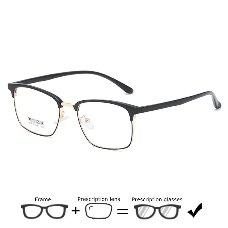 Metall Optische Myopie Brillen Männer Platz Business Vintage Blau Licht Photochrome Übergang Myopie Brille Lesebrille Gut FüR Antipyretika Und Hals-Schnuller Korrektionsbrillen