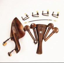 1 Set New Natural Ebony Wood 4/4 Violin Violino Accessories Chin Rest Tailpiece String Tuners Black Hook Clamps Installed