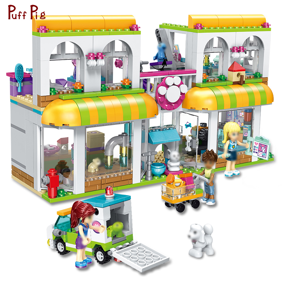 491pcs Girl Friends Heartlake City Pet Centre Model Building Blocks Compatible Legoe Friends Brick Educational Toy For Girl Gift toy 10166 friends series heartlake city school model building kit blocks bricks girl toy gift compatible with toys