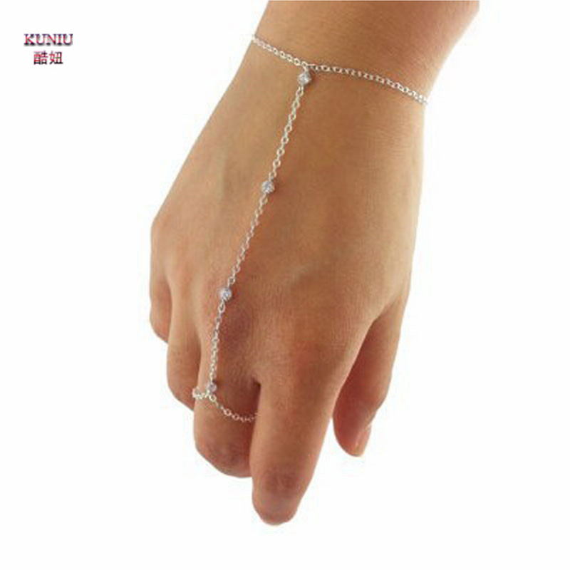 KUNIU 2017 Women Girls Ladys Fashion Charm Gold Silver Plated Slave Chain Crystal Finger Circle Bracelet Jewelry New
