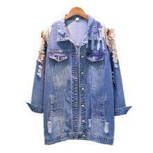 цены на 2019 Autumn Denim Coat Women Korean Loose Embroidery Coat Beaded Flowers Button Jacket Women Hole Denim Jacket Female Streetwear  в интернет-магазинах