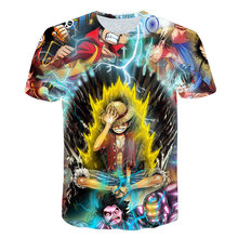 New Anime Tshirt Summer Mens Funny fire Print One Piece 3d T-shirt Male Hip hop Streetwear O-Neck T Shirts Mans Tops&Tees Shirt