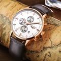 Relógios dos homens 2016 nova marca de topo guanqin cronógrafo masculino vestido de couro banda sports relógio de pulso de quartzo dos homens de ouro de luxo relógios