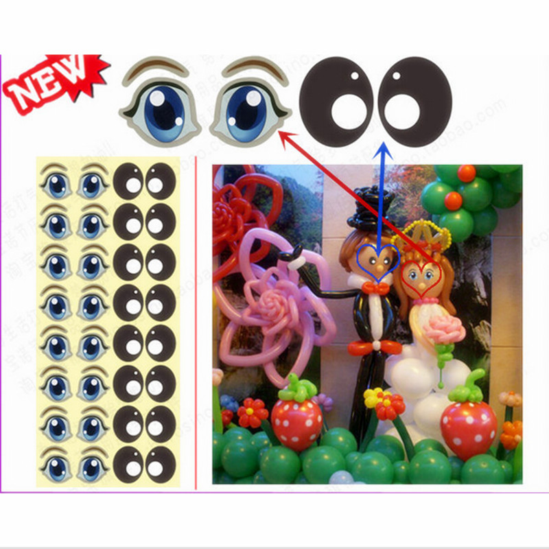 Balloon eye stickers 10 sheets high quality animals eye stickers magic balloon decoration wedding birthday party supplies in Ballons Accessories from Home Garden