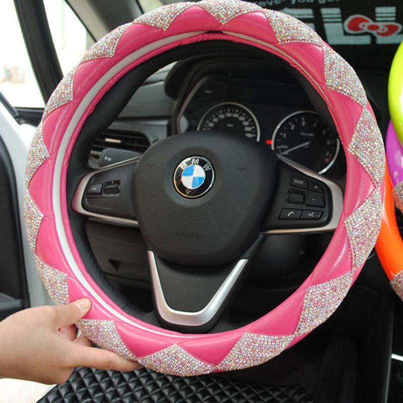 MUNIUREN Luxury naiste teemant nahast auto rool hõlmab Bling Crystal - Auto salongi tarvikud - Foto 5