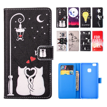 For Huawei P9 Lite Case Cover Silicone Shell Wallet Cartoon Leather Flip Case for HUAWEI P9 Lite Venus VNS-TL00 G9 Coque Fundas