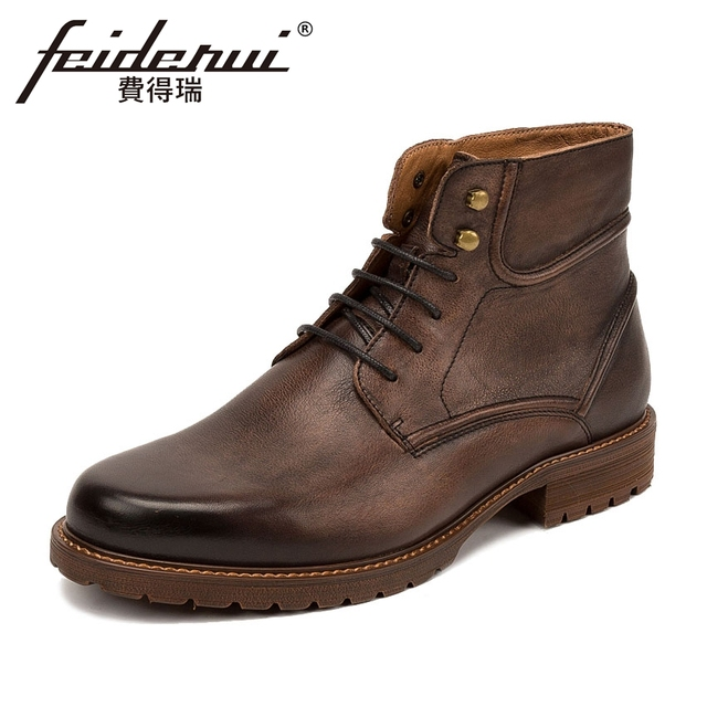 6a7c2debd19c3 New Vintage Genuine Leather Men's Flat Platform Ankle Boots Round Toe  Lace-up Handmade Cowboy Riding Dress Shoes For Man KUD37