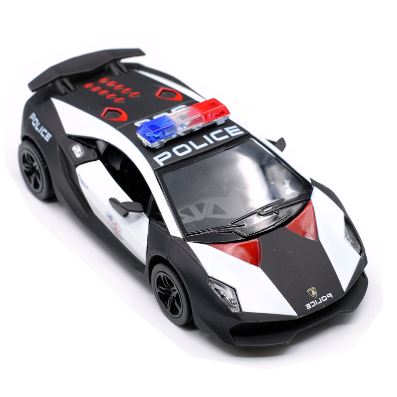 New Kinsmart Police Lamborghinii Sesto Elemento Model Car 1:36 Scale Pull Back and Door Openable Alloy car model Gift kids toys
