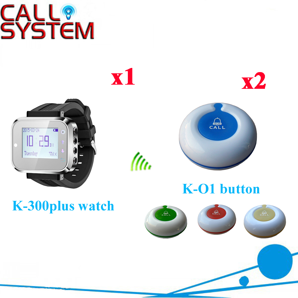 Wireless Waiter Pager System Long Range Distance 100-200M In The Open Air Area For Restaurant(1 watch+2 call button) wireless guest pager system for restaurant equipment with 20 table call bell and 1 pager watch p 300 dhl free shipping