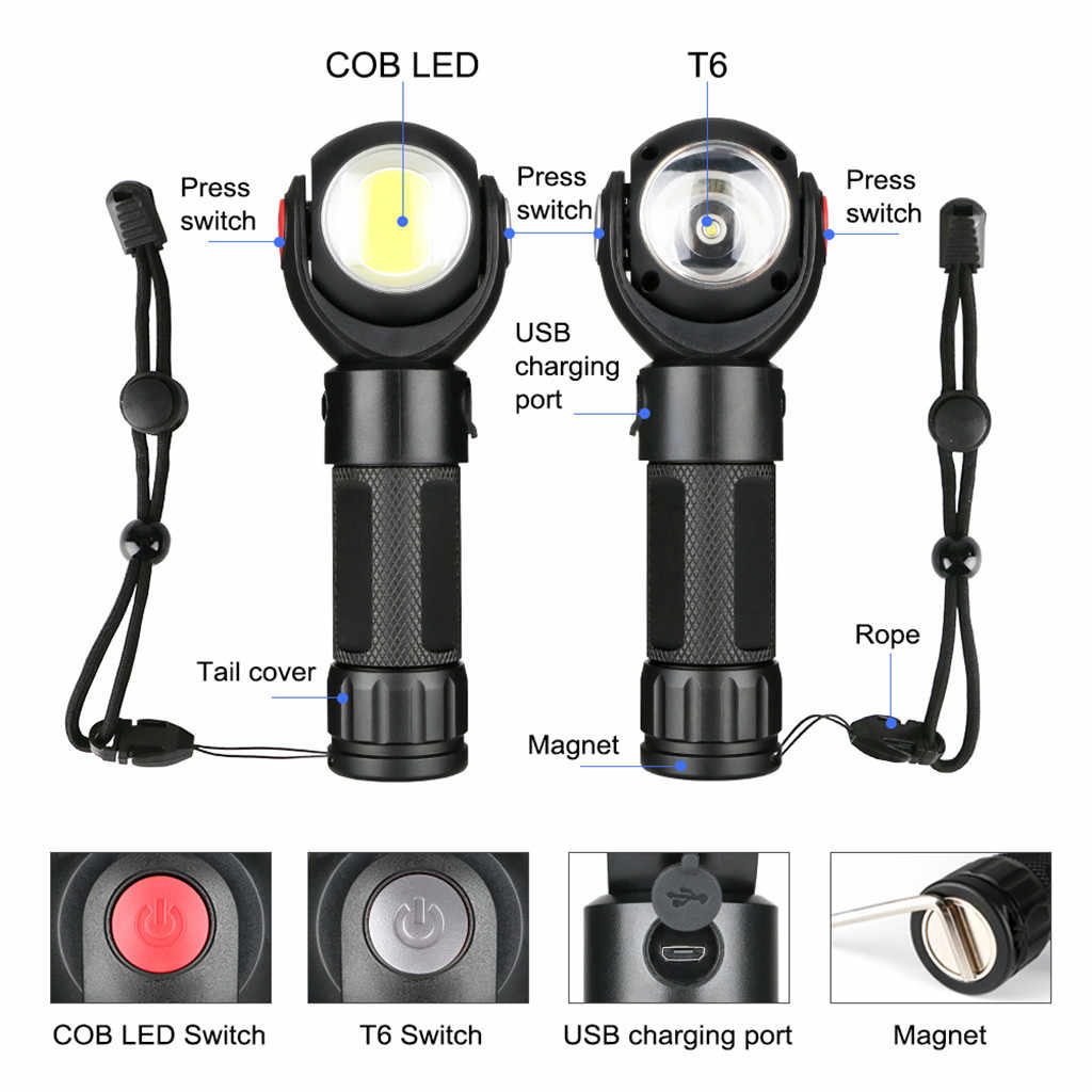 outdoor tools Practical 360° Rotating Flashlight T6+COB LED Torch USB Charge Tail With Magnet  high quality aluminum alloy#g35