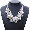 Chegada nova moda de luxo robusto bolha simulado pearl pendant choker declaração colar de jóias para as mulheres