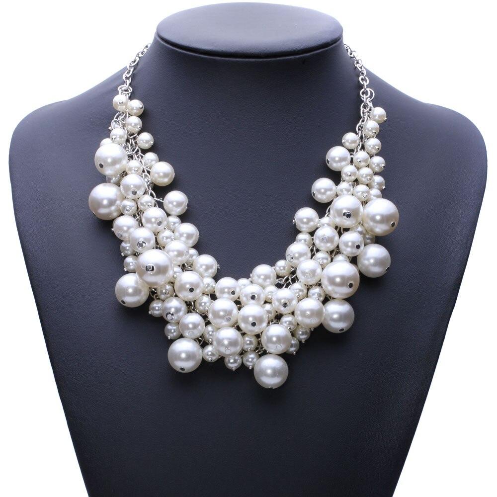 Prix pour Nouvelle Arrivée de mode chunky de bulle de luxe simulé perle pendentif Collier ras du cou déclaration bijoux pour les femmes