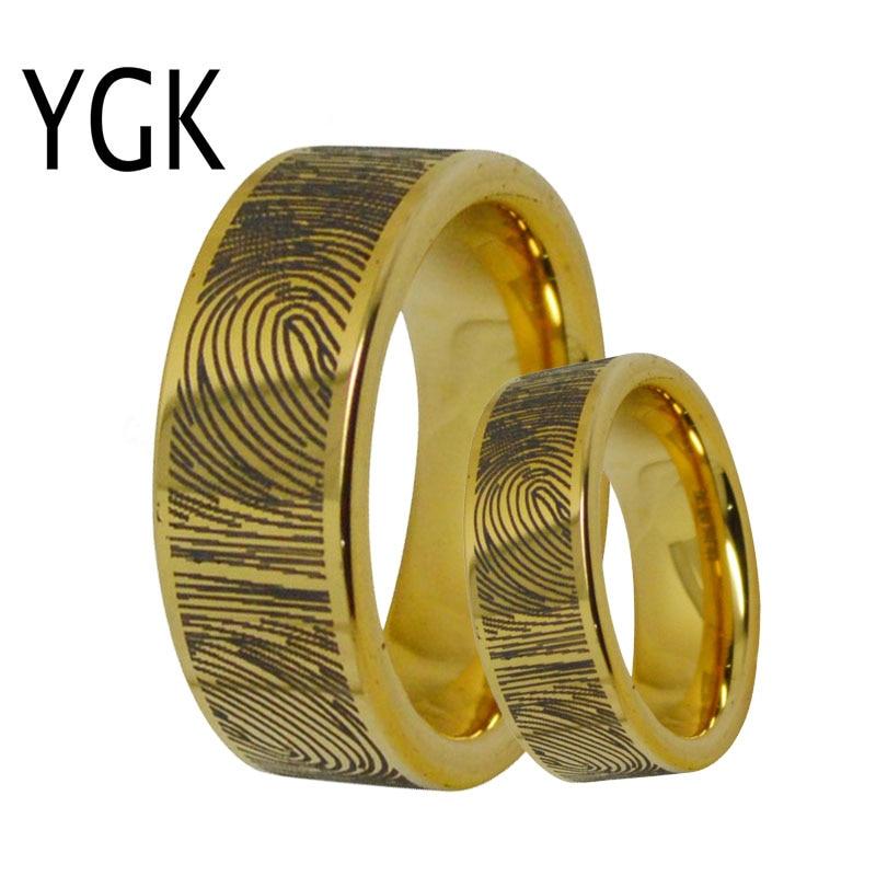 Men's Unique Tungsten Golden Simple Wedding Couples Rings Engagement Rings For Women Custom Fingerprint Design Female Male Ring