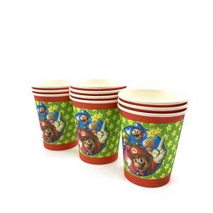 Image 2 - 73 개/몫 생일 파티 용품 일회용 식기 슈퍼 마리오 브라더스 파티 용품 장식 종이 냅킨 플레이트 컵