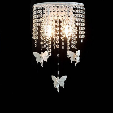 angels simple Modern K9 crystal Led Wall lamps With 2 Lights For Bedroom aisle study,E14 Bulb Included Wall Sconce,AC
