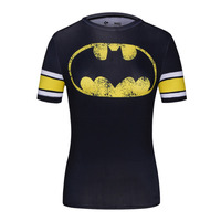 Ladies Classic Batman Logo Bodys Armour Marvel Superhero Compression Shirt For Women Gym Training Running Fitness