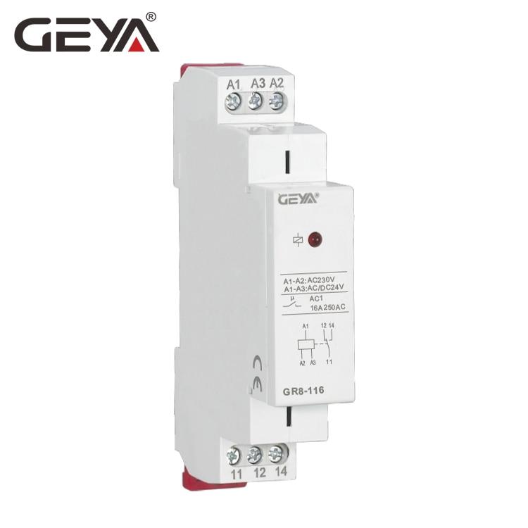 цена на GEYA GR8 AC DC 24V Auxiliary Relay Intermediate Switch 8A 16A SPDT RELAYS Din Rail Module