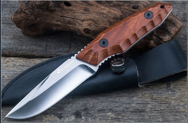 HX Outdoor Fixed Blade Straight Knife Rosewood Handle 5Cr15Mov Blade knife Camping Hand Tool Survival Hunting Knives цена и фото