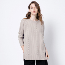 New Arrive Quality Pullovers Women's Medium-long Knitted Sweater Thickening Flower Placketing Long-sleeve Sweater