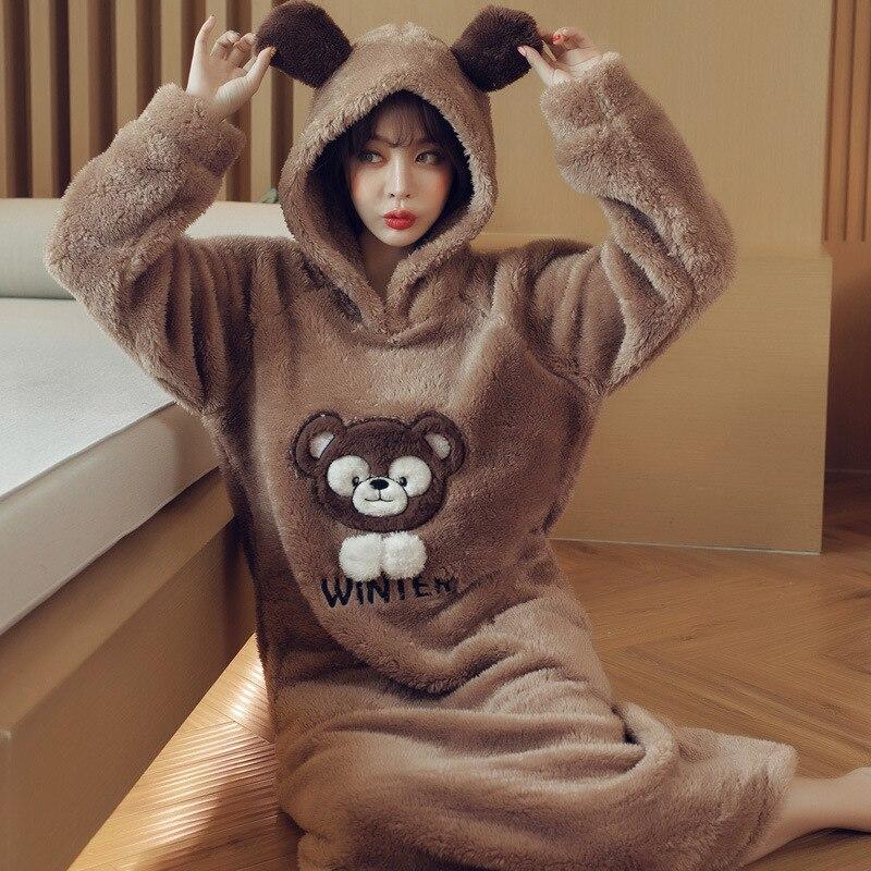 Autumn Winter Women Flannel Cute Cartoon Hooded Robes Sleepwear Female Long Home Wear  Warm Bathrobe Cute Bear Bath Robes
