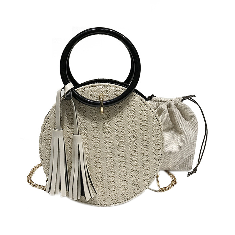 DCOS-Women Handmade Round Beach Shoulder Bag Circle Straw Bags Summer Woven Rattan Handbags Women Messenger Bags(white)