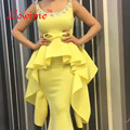 Peplum Chaple Yellow Mermaid Evening Gown Beads Crystal Pearls Scoop Long Satin Evening Dresses Saudi Arabic Fashions