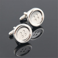 High Quality French Silver Button Cufflinks For Mens Shirt Brand suit Cuff Buttons Cuff Links Jewelry Christmas gift