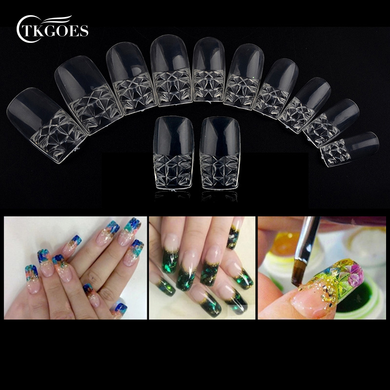 Aliexpress Tkgoes 500pcs New Clear Glaze False Fake Nail Tips Fashion Beauty Gl Mosaic Art Design Essential Free Shipping From