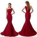 Nueva llegada de un hombro tafetán vestido de bola party dress largo elegante de la sirena roja vestidos de baile 2015