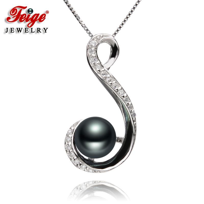 New Design 925 Sterling Silver Pearl Pendant Necklaces 8-9mm Black Freshwater Pearls Womens Jewelry