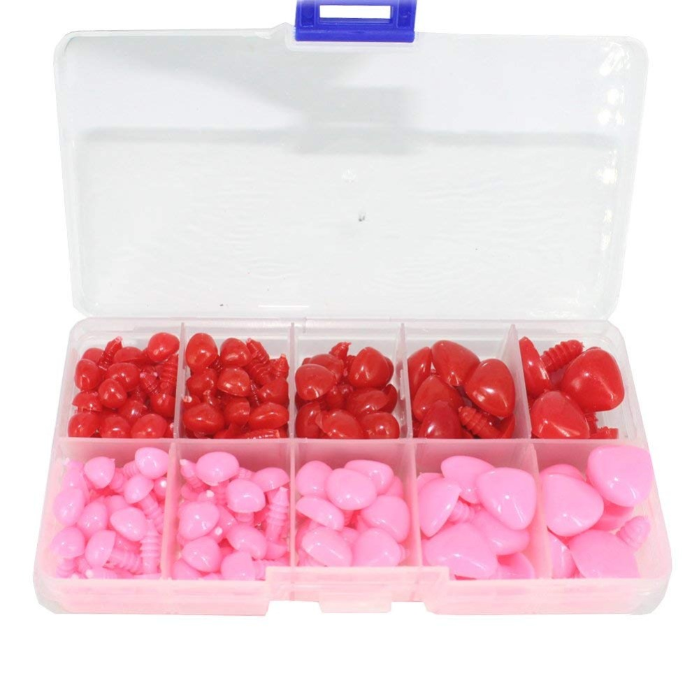 130pcs 8/9/11/15/16mm Pink And Red Plastic Safety Nose D-shape Craft Nose For Doll Puppet Making DIY Doll Toys Accessories